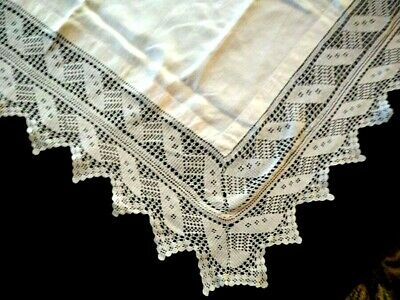 "Wonderful Mary Card? Design Vintage White Filet Hand Crochet Tablecloth 48""Sq"