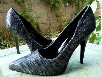 "NEW~Frederick's of Hollywood~BLACK PUMPS~5""Stiletto HEELS~SPARKling Shoes Sz 8.5"
