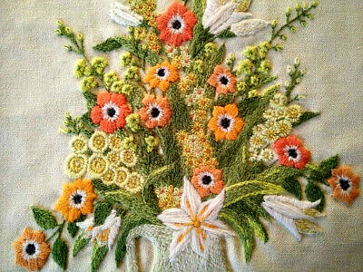 Outstanding Jug Raised 3D Flowers - Vintage Completed Crewel Picture/Panel