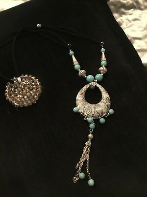Long Turquoise Style Bead with Black Cotton Cord Tassel Necklace 84cm L// 9cm L