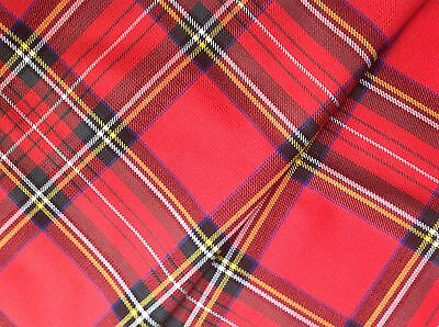 Tartan Poly Viscose fabric Small Pack remnants quilting patchwork 10pcs mix