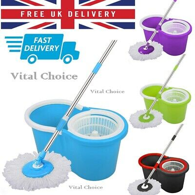 Besto 360° Floor Magic Spin Mop Bucket Set Microfiber Rotating Dry Heads