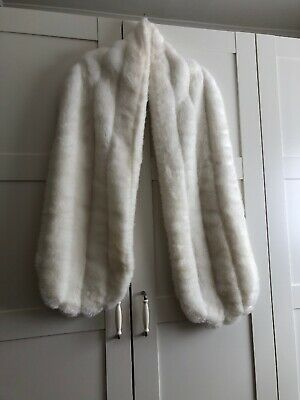 ladies Faux Fur Shawl Stole Wrap Shrug one size White