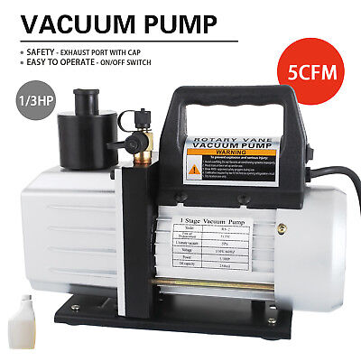 1/3HP Deep Vacuum Pump 110V 5 CFM HVAC AC Refrigerant Charge Black