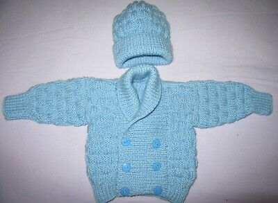 Hand knitted scroll neck cardigan & hat set in blue 0 to 3 mths baby boy