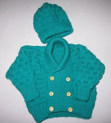 Hand knitted scroll neck cardigan & hat set in green 3 to 6 mths baby boy