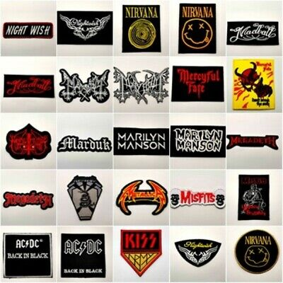 Patch Rock Music Black Heavy Metal Band Iron On Sew Embroidered Free Ship Cap Y8