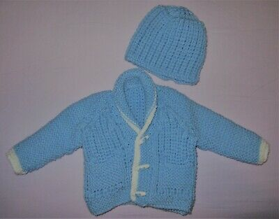 Hand knitted chunky scroll collar cardigan/hat in blue 3/6mths baby boy