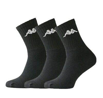 New Kappa Sonotu Men Sports Everyday Socks 3 Pair Pack Black Sports Socks 39-42