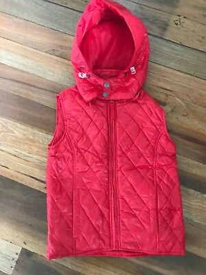 Pumpkin Patch Puffa/Padded/Quilted Hooded Vest. Red.Sz 8 NWT.RRP$42.99