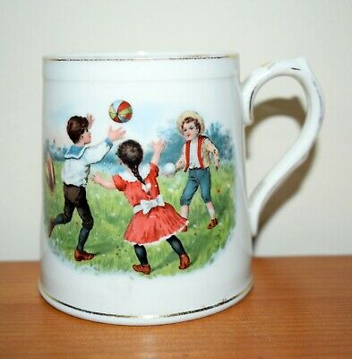 Antique Victorian Nursing Mug (early 1800's) - Playing Ball
