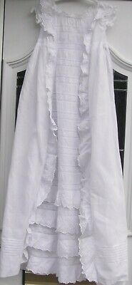 Orig Ant/ Victorian Ornate White Christening Gown. Frills/ Ruched / Lace etc