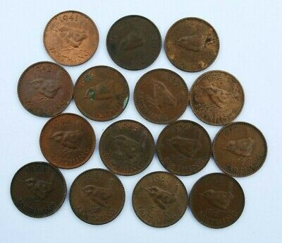Job Lot of 15 GEORGE VI 1937 - 1952 FARTHING COINS. (The Wren) V.Good Condition
