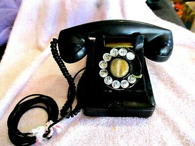 Bell System Western Electric 1940's Rotary Dial Desk Telephone Black