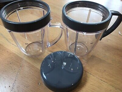 Original Nutribullet 2X Cups, lid ring, handled lid ring and lid