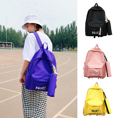FT- KE_ Student Girls Fashion Letters Nylon Travel School Backpack with Pencil B
