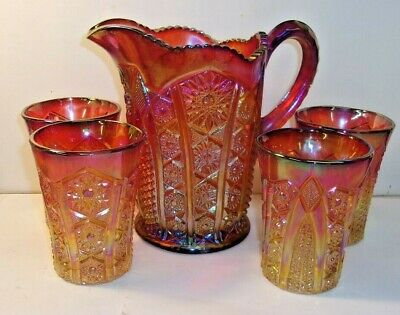 Vintage INDIANA CARNIVAL GLASS Heirloom Red Sunset Amberina Pitcher & 4 tumblers