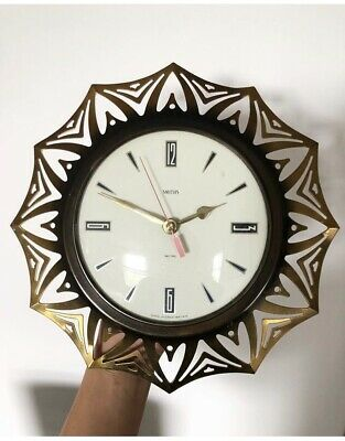 Vintage Retro Mid-Century SMITHS Wall Clock Starburst Fully Working