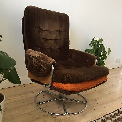 Marvelous Vintage Retro 1970S Brown Fabric Chrome Swivel Chair Seat Creativecarmelina Interior Chair Design Creativecarmelinacom