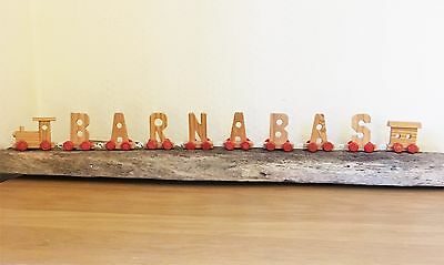 """CHILD'S PERSONALISED WOODEN TRAIN """"Barnabas"""" For Brio Size Train Track Kids Boys"""