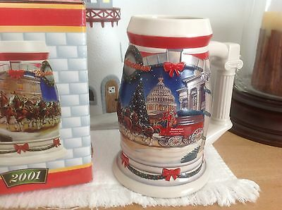 """Budweiser 2001 Holiday Collector Beer Stein """"Holiday at the Capitol - New in Box"""
