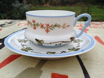 "Unusual Vintage French Art Deco Period ""Flowers & Ivy"" Design Cup & Saucer"