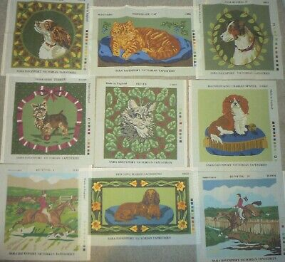 9 x NEW SARA DAVENPORT VICTORIAN TAPESTRY NEEDLEPOINT CANVASES - DOGS CAT HORSE