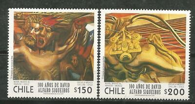 Chili Scott #1212-1213 MNH 100 Ans de David Alfaro Siqueiros 1997