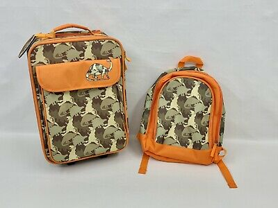 Kids Camo Dinosaur Rolling Luggage And Backpack Travel Bag Children's 19x12x5