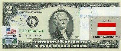 $2 Dollars 2013 Stamp Cancel Flag Of Un From AustriaLucky Money Value $99.95