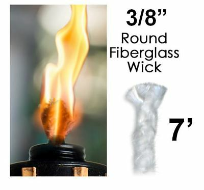 3/8 Round Fiberglass Wick 7 Feet Kerosene Lamp Tiki Torch Bottle Oil Candle USA