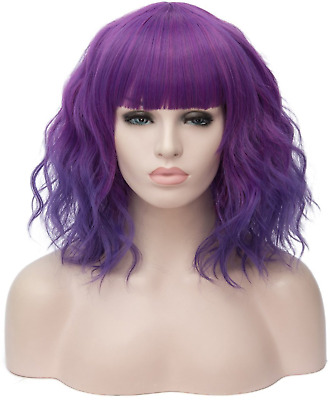 CLOCOLOR Women's Short Curly Wig 14 Inches Bob Wigs with Fringe Synthetic Full