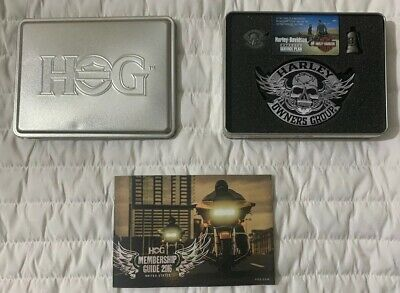 Harley Davidson HOG Gift Set Patch, Pin & Gremlin Bell In Tin Box Free Shipping