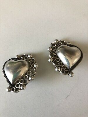 Vintage Antique Heart Clip-on Earrings 925 Sterling Silver Taxco Mexico