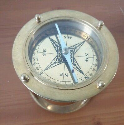 Vintage Solid Brass Marine Compass Stanley London Brass Stand Ship's Desk Compas