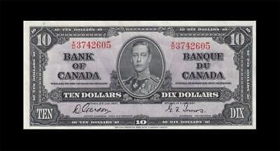 """1937 BANK OF CANADA KGVI $10 **Gordon & Towers** """"X/D"""" (( EF ))"""