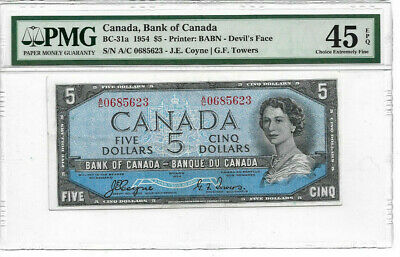 1954 $5 Devils Face EF45 PMG EPQ Bank of Canada $5 Note