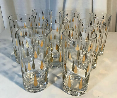 Vintage Mid Century Modern Fred Press 8 Highball Glasses Gold Diamond Tumbler