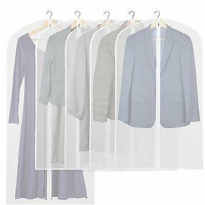 5 Pack - Simplehouseware 40-Inch Translucent Garment Bags with Zipper for Suits,