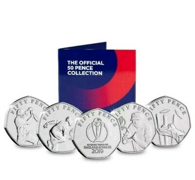 2019 Isle Of Man Icc Cricket World Cup 50P Coin Set Bunc