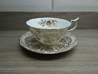 Vintage Coalport Bone China Queen's Plate White & Gold Batwing Teacup & Saucer