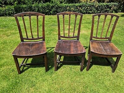 Three antique original Georgian chairs. Suitable for hall, bedroom etc
