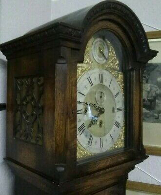 Antique longcase Grandfather clock with tubular bells,  8 day, triple chimes,
