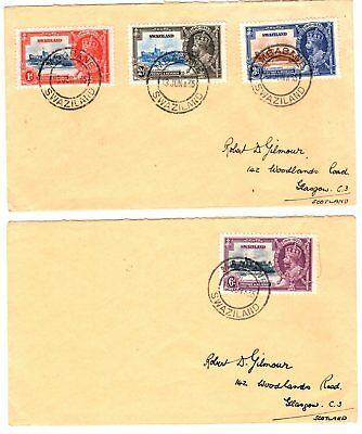 Swaziland 1935 Covers (2) with Silver Jubilee Set - Mbabane cds to Glasgow UK