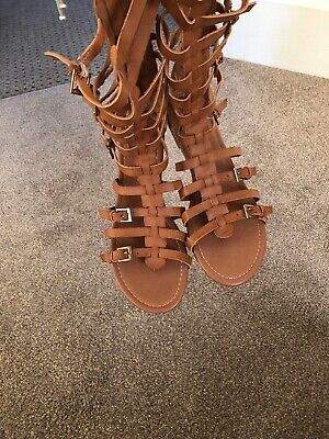 Gladiator Sandals New Look Size 7 Tan Leather Used Vgc