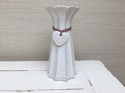 Next White Fluted Vase with Heart & Lilac Ribbon