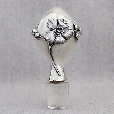 Large Antique Art Nouveau Alvin Sterling Silver Floral Decanter Stopper Roses