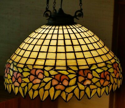 Stained Leaded Slag Glass Ceiling Lamp  c.1915 Handel? Unique? Geometric Flowers