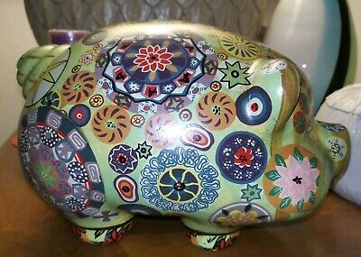 Vintage 60s Mexican Folk Art Painted Pig Pottery Psychedelic Hippie Piggy Bank