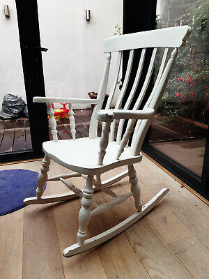 Wooden Rocking Chair, Painted White Shabby Chic